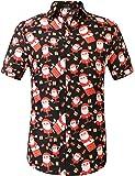 SSLR Men's Christmas Santa Claus Casual Short Sleeve Hawaiian Shirt