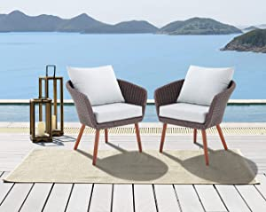 Athens All-Weather Brown Wicker Outdoor Chairs with Light Gray Cushions, Set of 2