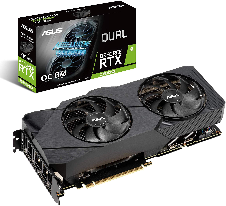 Tarjeta gráfica ASUS GeForce RTX 2080 Super Overclocked 8G GDDR6 Dual-Fan EVO V2 Edition VR Ready HDMI DisplayPort 1.4 (DUAL-RTX2080S-O8G-EVO-V2)