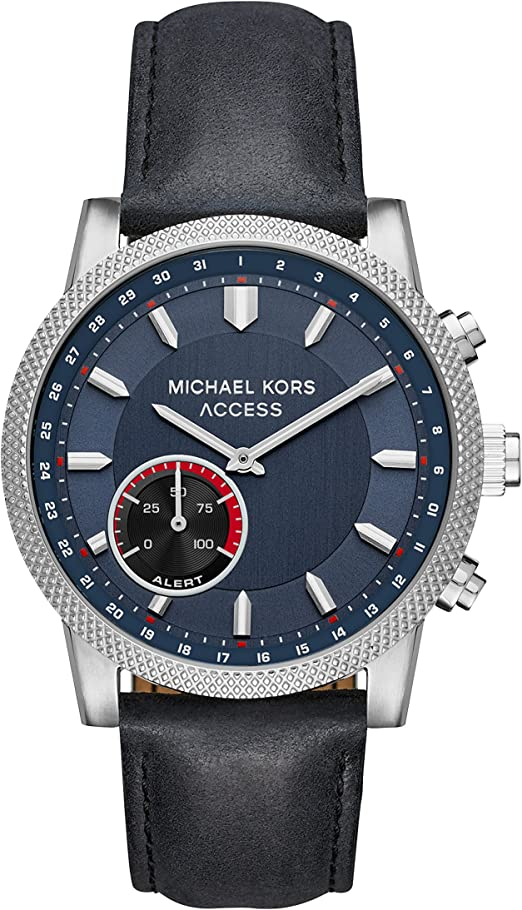 Michael Kors Access Mens Hutton Hybrid Smartwatch Quartz Stainless Steel and Leather Casual Watch, Color Black (Model: MKT4024)