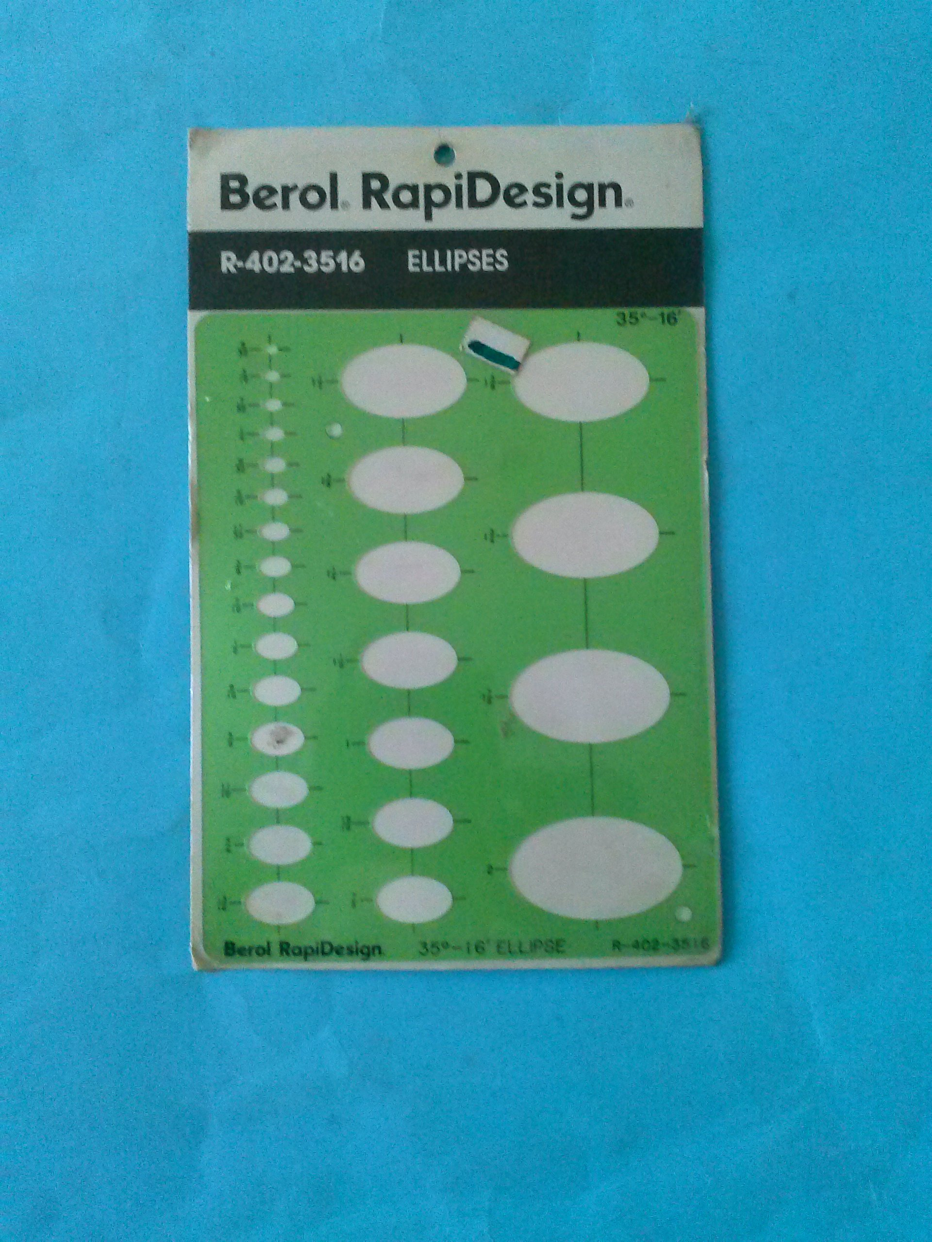 Berol RapiDesign R-402-3516 Technical Drawing Template Ellipses Made in USA by RAPIDESIGN (Image #1)