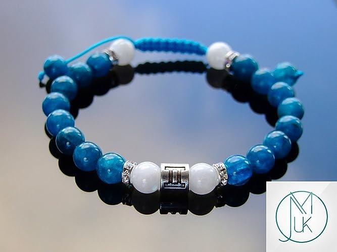 Gemini Apatite Moonstone Birthstone Bracelet 6-9 Macrame Healing Stone Chakra Reiki With Pouch FREE UK SHIPPING