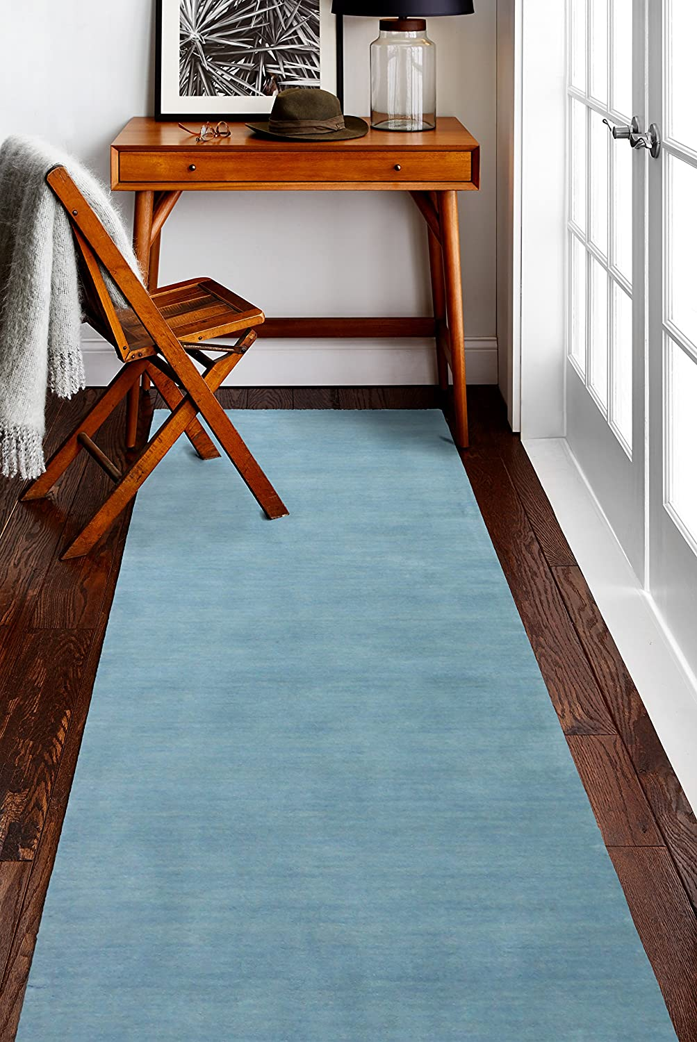 Bashian ALM179 Contempo Collection Hand Loomed 100/% Wool Area Rug 2.6 x 8 Light Blue