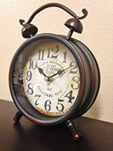 Rustic Farm Home Black Table Clock Old Town Shabby Antique Cottage Decor