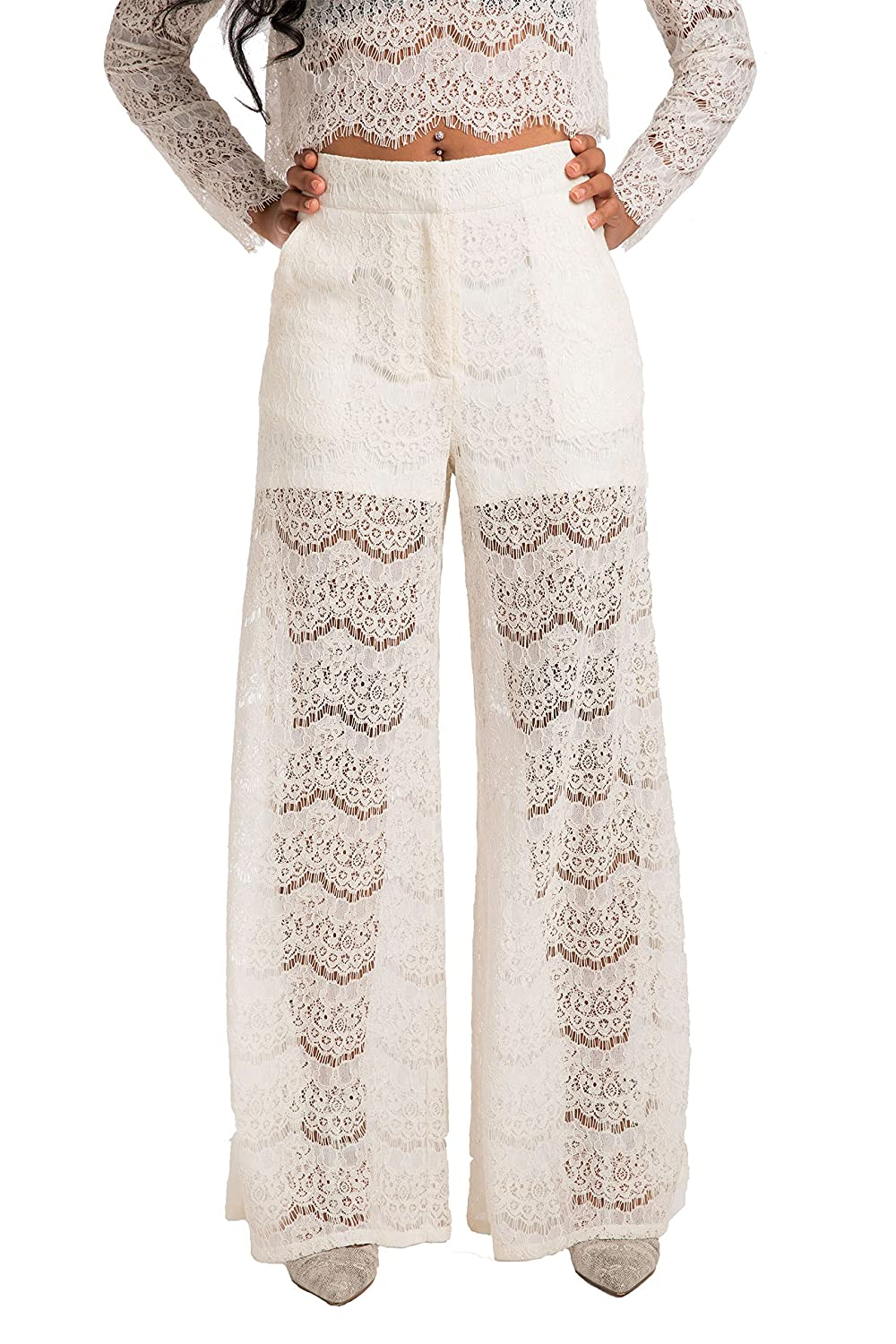 Standards & Practices Contemporary Women's Peekaboo Lace Palazzo Pant