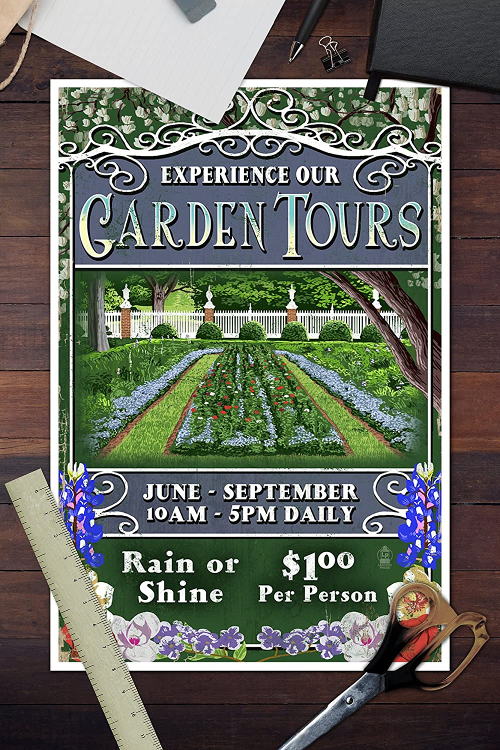 Amazon.com: Garden Tours - Vintage Sign (12x18 Fine Art Print, Home Wall Decor Artwork Poster): Posters & Prints