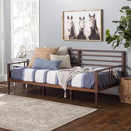 Walker Edison Mid Century Modern Wood Spindle Daybed Headboard Footboard Bed Frame Bedroom