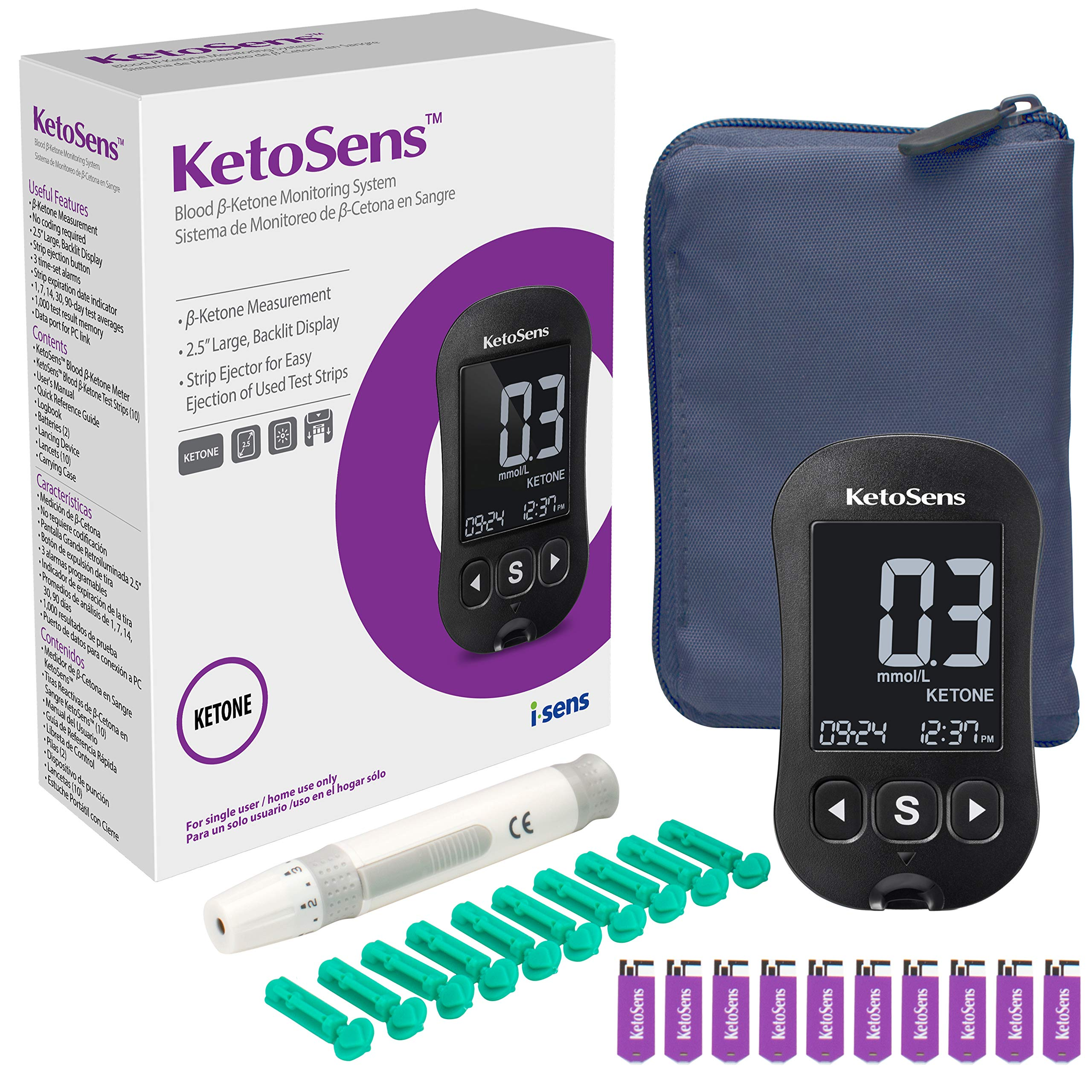 KetoSens Blood Ketone Monitor Kit with Meter, 10 Keto Test Strips, 10 Lancets, Lancing Device & Carrying Case - Ideal for Keto Diet by KetoSens