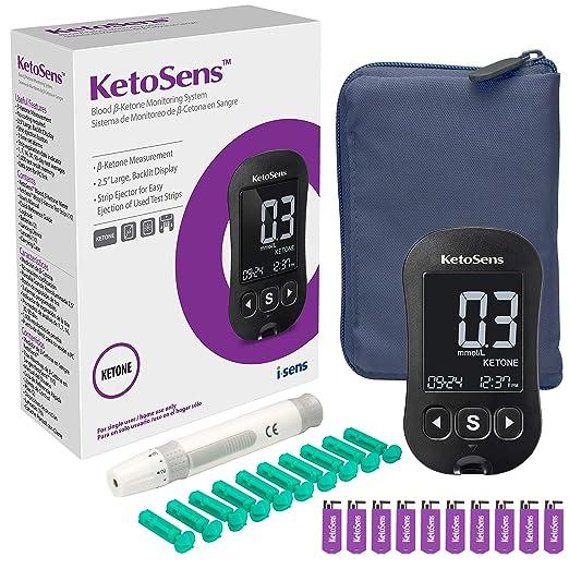 KetoSens Blood Ketoneモニターキット、メーター、10個のKetoテストストリップ、10個のランセット、ランシングデバイスおよびキャリングケース - Ketoダイエットに最適