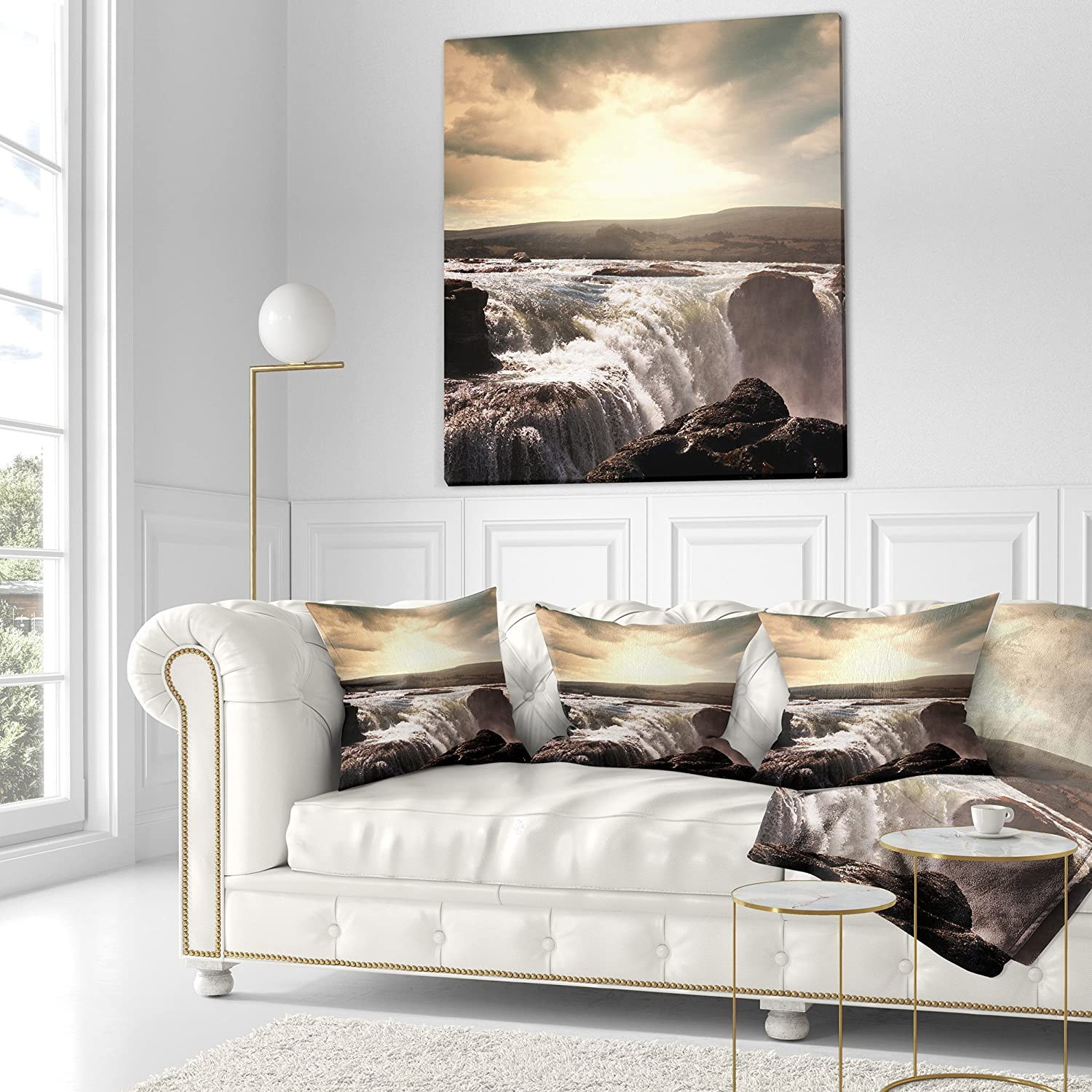 Insert Side Designart CU12721-18-18 Black and White Iceland Waterfalls Landscape Printed Cushion Cover for Living Room x 18 in Sofa Throw Pillow 18 in in