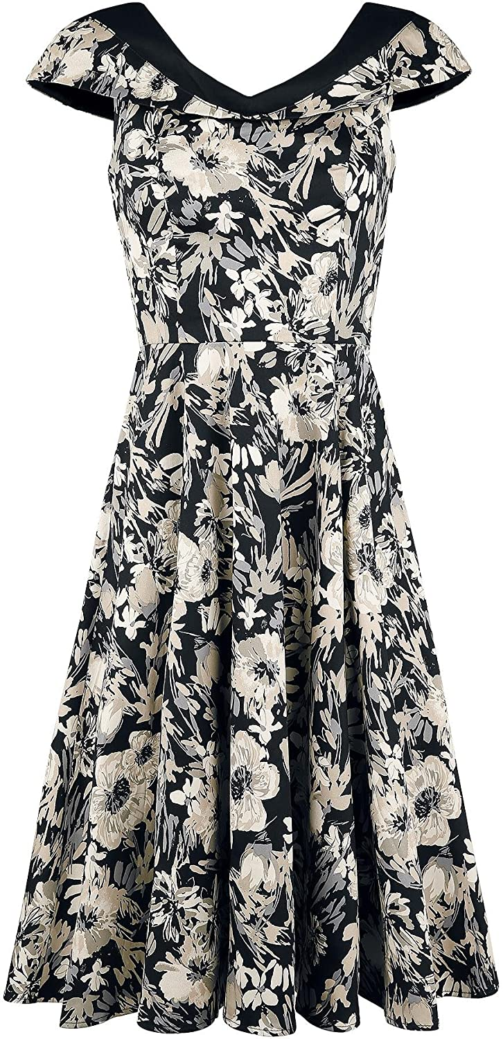 H&R London Clematis Portrait Floral Kleid schwarz