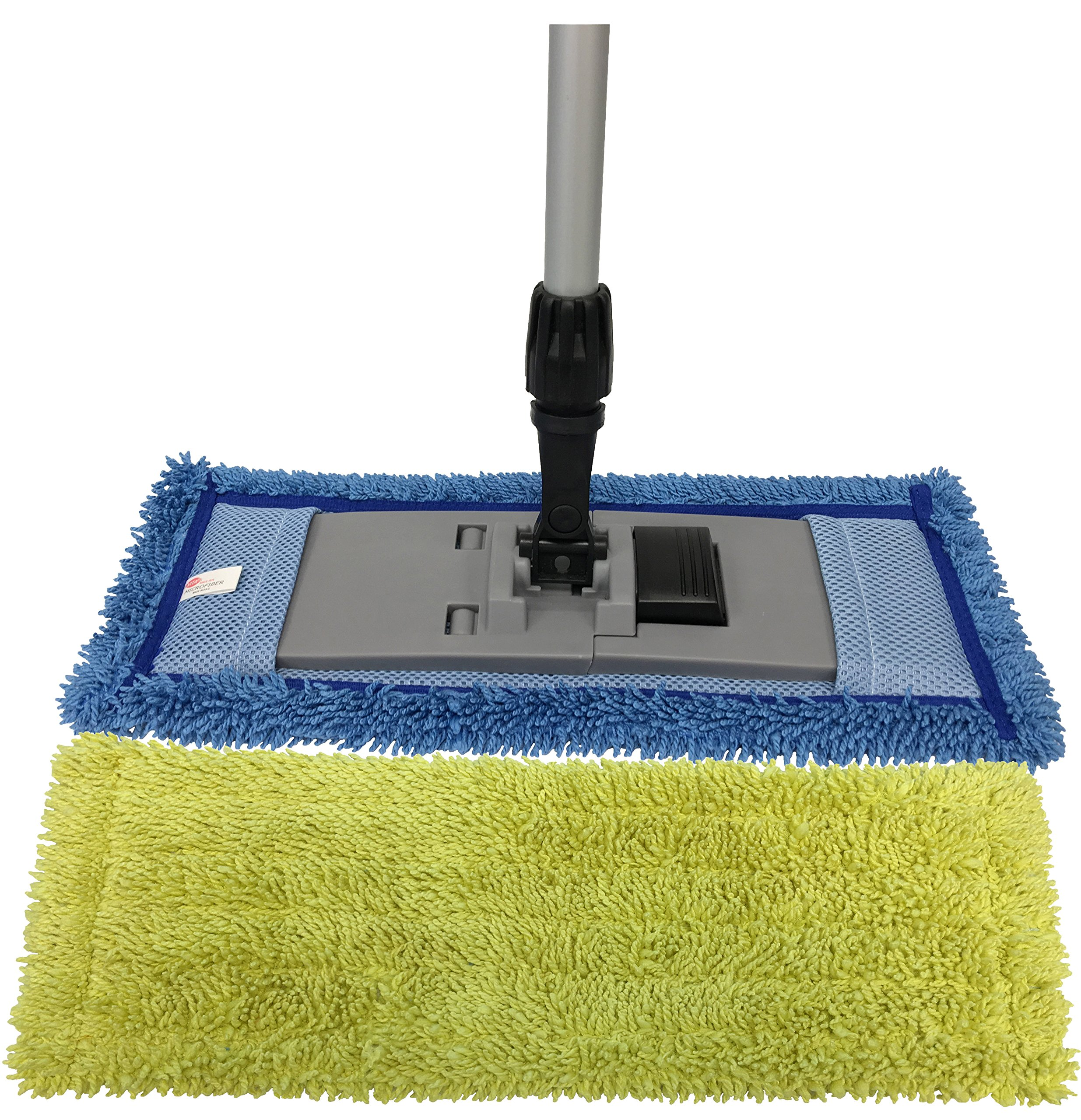 Microfiber Pocket Mop Kit: 1) Blue 18'' Pocket Mop, 1) Yellow 18'' Pocket Mop, 1) 72'' Aluminum Extension Handle & 1) 16'' Pocket Mop Frame
