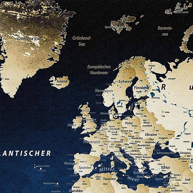 Lanakk Weltkarte Leinwandbild Mit Korkruckwand Zum Pinnen Der