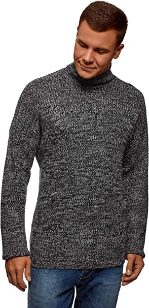 TALLA L. oodji Ultra Hombre Jersey de Punto Texturizado con Cuello Alto