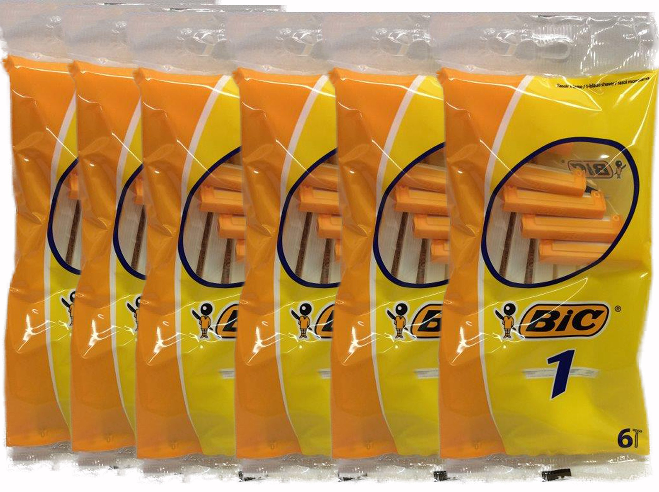 Bic Disposable Razor Shavers Normal Single Blade 6-Count (Pack of 12)