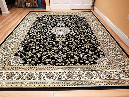 Traditional Isfahan Persian Style 5×8 Area Rug Black Cream 5×7 Rug