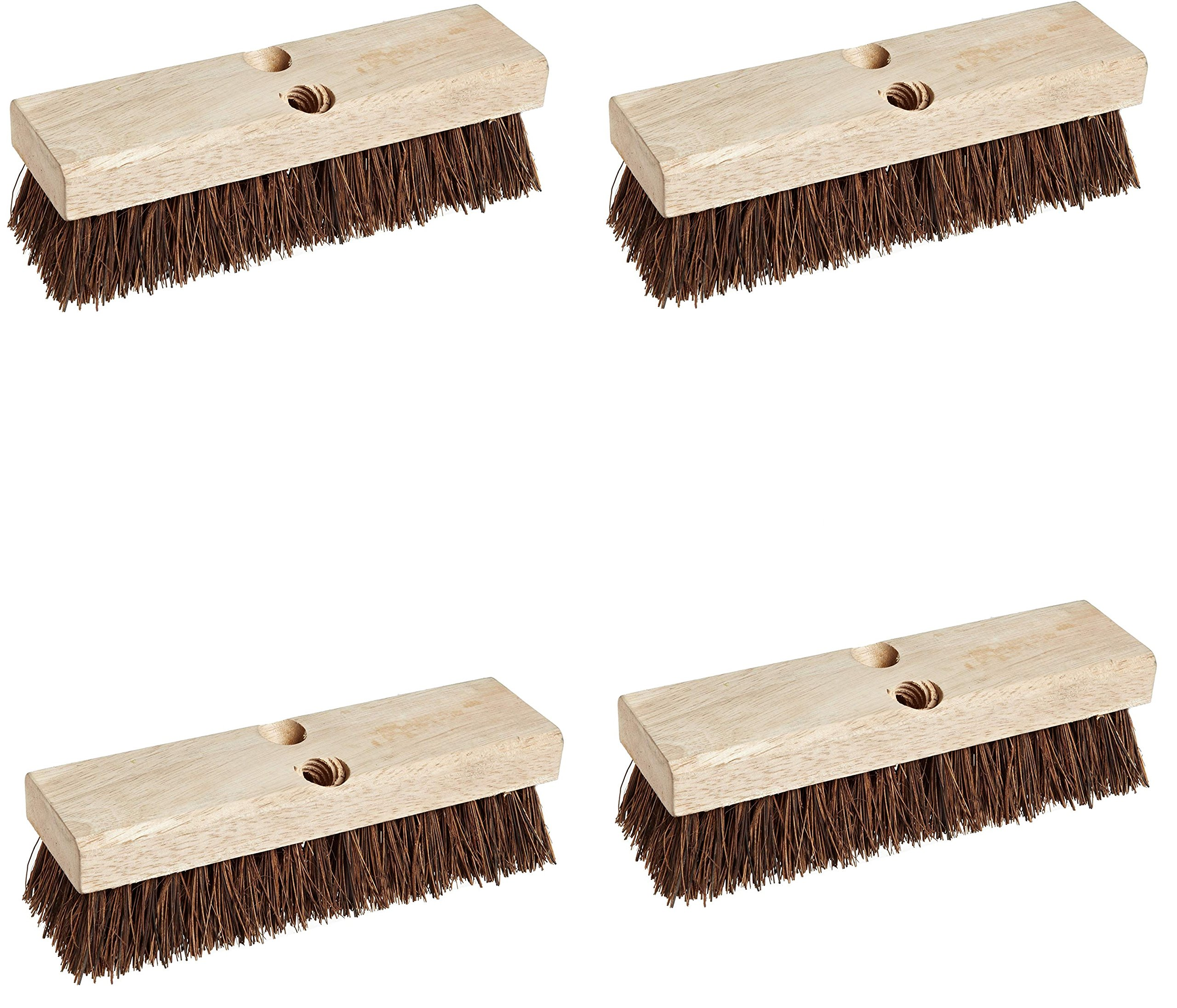 Weiler 44026 Palmyra Fill Deck Scrub Brush with Wood Block, 10'' Overall Length (4 pack)