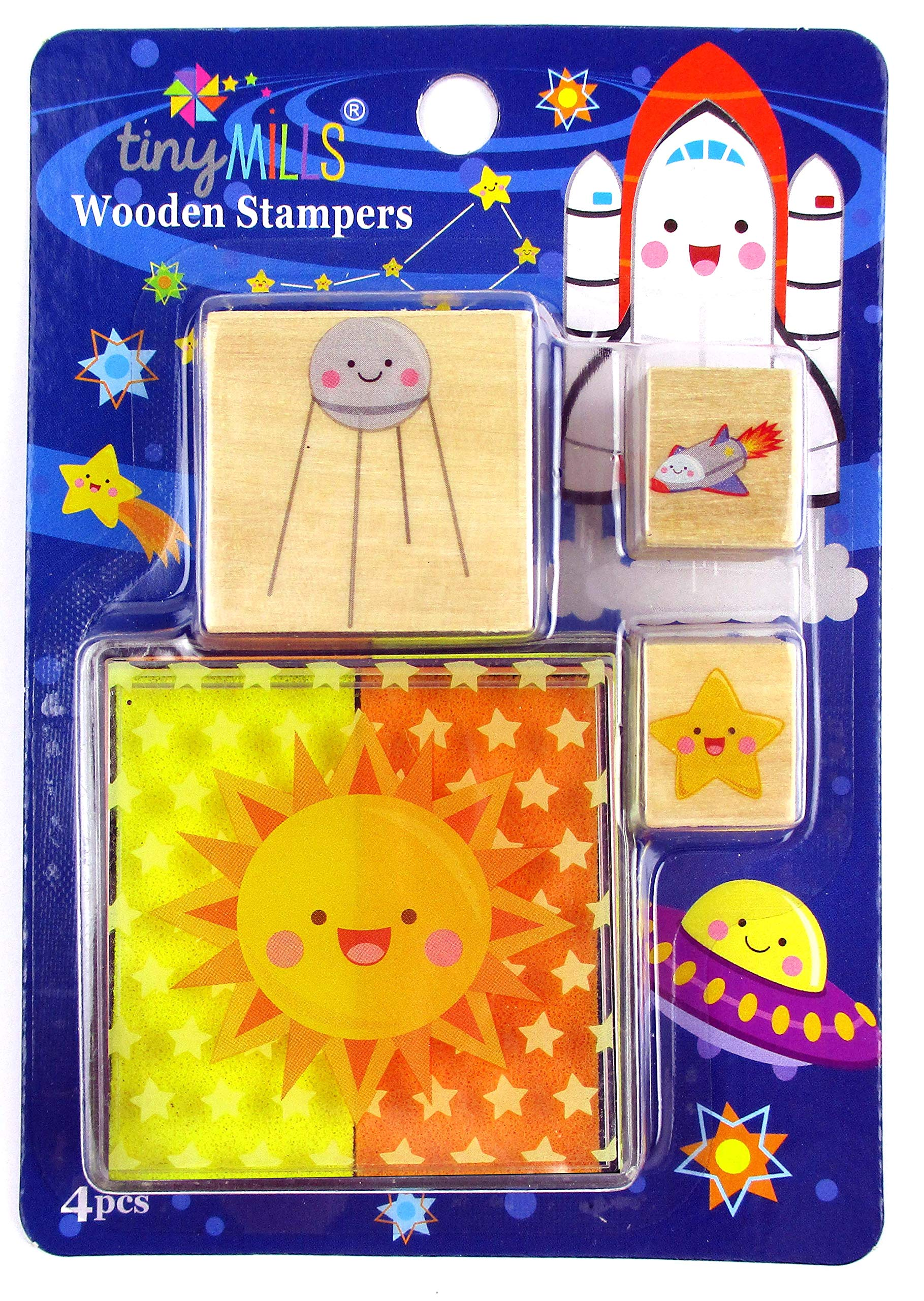 12 Assorted Outer Space Wooden Stamper Sets