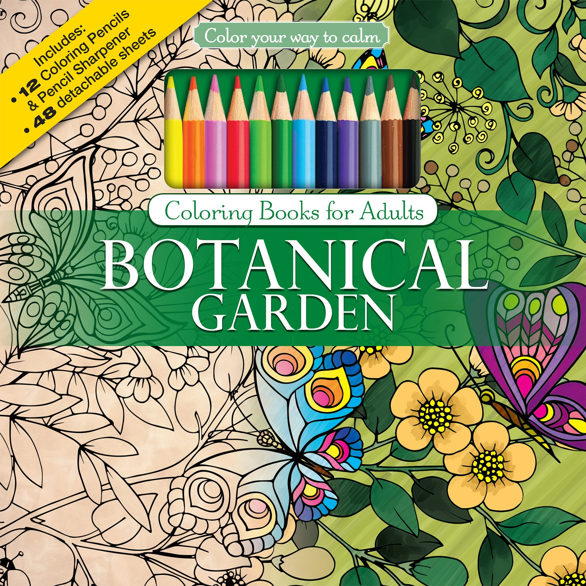Amazon.com: Botanical Garden Adult Coloring Book Set With 24 Colored ...