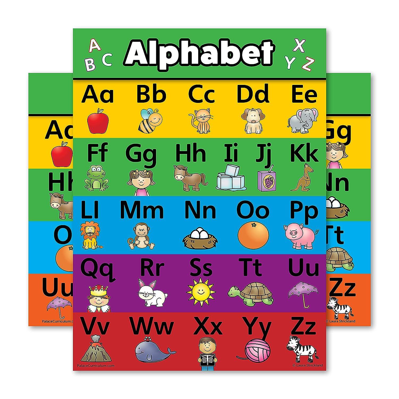 Amazon.com: ABC Alphabet Poster Chart - LAMINATED - Double Sided (18 ...