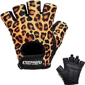 Contraband Pink Label 5297 Womens Design Series Leopard Print Lifting Gloves (Pair) - Lightweight Vegan Medium Padded Microfiber Amara Leather w/Griplock Silicone
