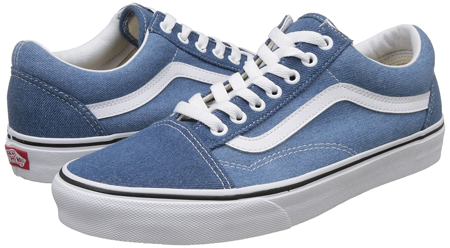 Vans Unisex Old Skool 13 Classic Skate Shoes B076CV4S7L 13 Skool M US Women / 11.5 M US Men|Denim 2 Tone Blue True White 93cd24