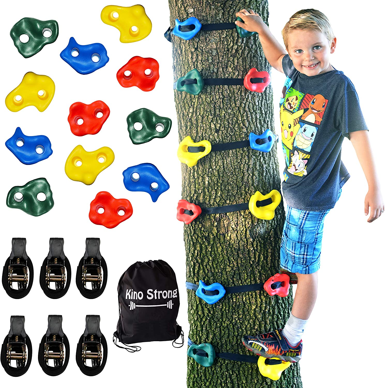 DreamsBe Tree Climbers 12 Backyard Ninja Tree Climber Holds & 6 Slackline Ratchet Straps for Kids Adult Climbing Holds Outdoor Ninja Warrior Obstacle Course Training Equipment (6.5 Foot Tree Straps)