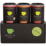 Green Cup Coffee Espresso Probierset - sortenreine, fair gehandelte Arabica Espressobohnen in Bio-Qualität - Kaffee Bohnen aus Indien, Brasilien & Panama - 3x 45g gemahlen