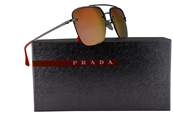 091874e44ae14 Image Unavailable. Image not available for. Color  Prada PS54SS Sunglasses  Gunmetal Grey w Brown Gradient Orange Mirror 59mm Lens ...