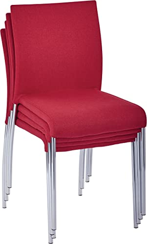 AVE SIX Conway Upholstered Stacking Chair with Chrome Legs, 4-Pack, Cranapple