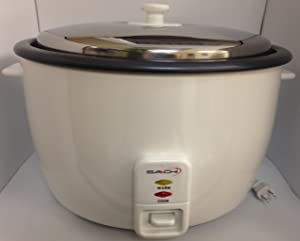 Saachi SA1280 Rice Cooker Large 25 Cup Chrome with Non-stick Bowl, Automatic Keep Warm Feature