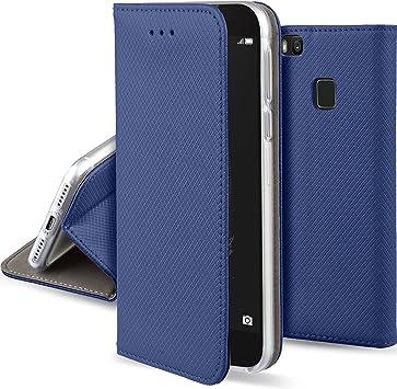Moozy Coque a Rabat pour Huawei P9 Lite, Bleu Foncé - Housse Étui Fin Smart Magnétique avec Porte-Cartes et Support