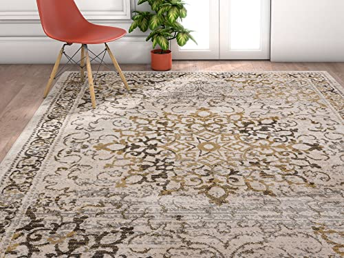 Well Woven Amba Sultana Traditional Distressed Oriental Gold Area Rug 7 10 x 9 10