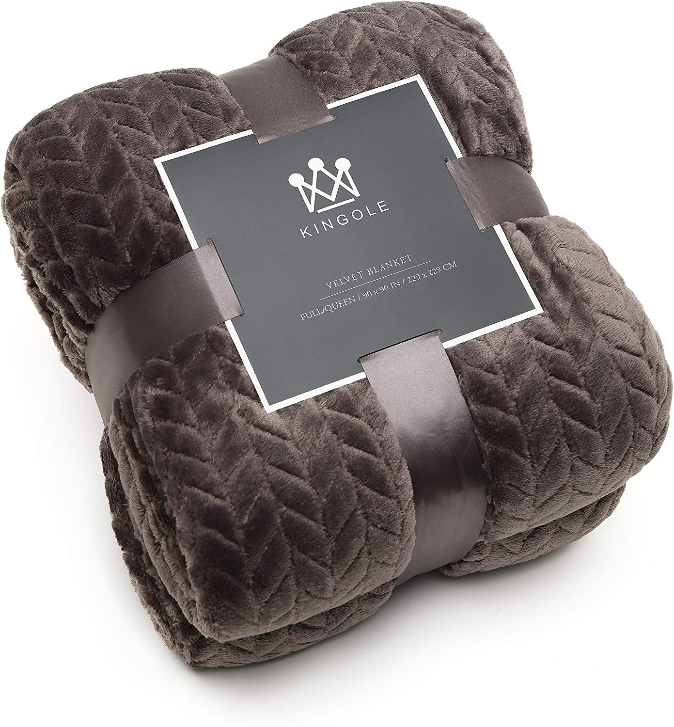 Kingole Flannel Fleece Luxury Throw Jacquard Weave Blanket, Charcoal Grey Queen Size Leaf Pattern Cozy Couch/Bed Super Soft and Warm Plush Microfiber 350GSM (90 x 90 inches)