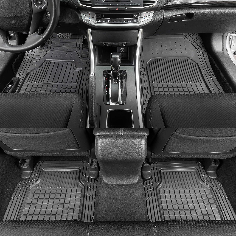 Motor Trend Flextough Semi-Custom Fit Car Floor Mats for Auto - Odorless Heavy Duty Rubber Floor Liners 4 Pieces Set - Trimmable (Black) (MT190)