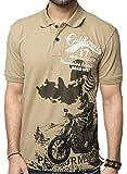 ZEYO Men's Cotton Printed Brown Polo Tshirt Half Sleeve