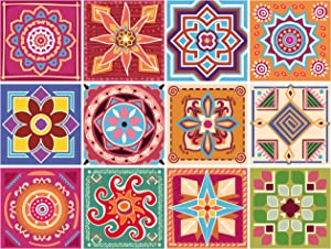 GSS Designs 12 PC Pack 6x6 Inch (15x15cm) Backsplash Tile Stickers Wall Tile Decals Peel and Stick Stairs Stickers Home Furniture Decor. (TS12-002)