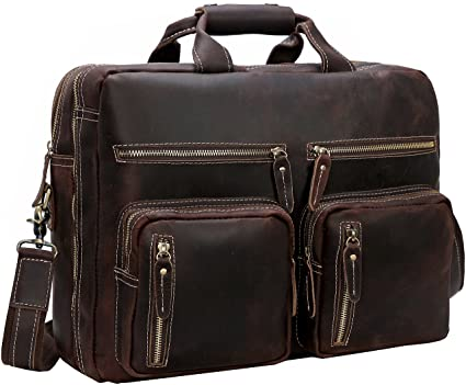 """b8d02d08aa Image Unavailable. Image not available for. Color  Iswee Men Leather  16""""Laptop Briefcase Vintage Messenger Bag ..."""