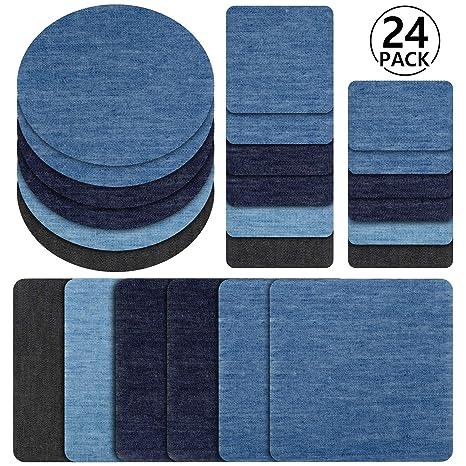 f428c80e24 Toppe termoadesive jeans, Rymall 24pcs 6 Colori Denim Ferro-on Turno Patch  Fai Artigianato Jeans Vestiti Patch Riparazione Kit Accessorio