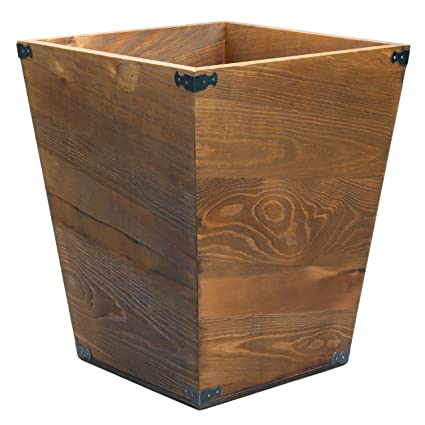 amazon com mygift dark brown torched wood design waste bin small