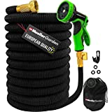 "Mueller ArmorFlow Heavy Duty Expandable Garden Hose 50 Ft, Lightweight, Drinking Water Safe, 3/4"" Solid Brass Fittings, Autom"