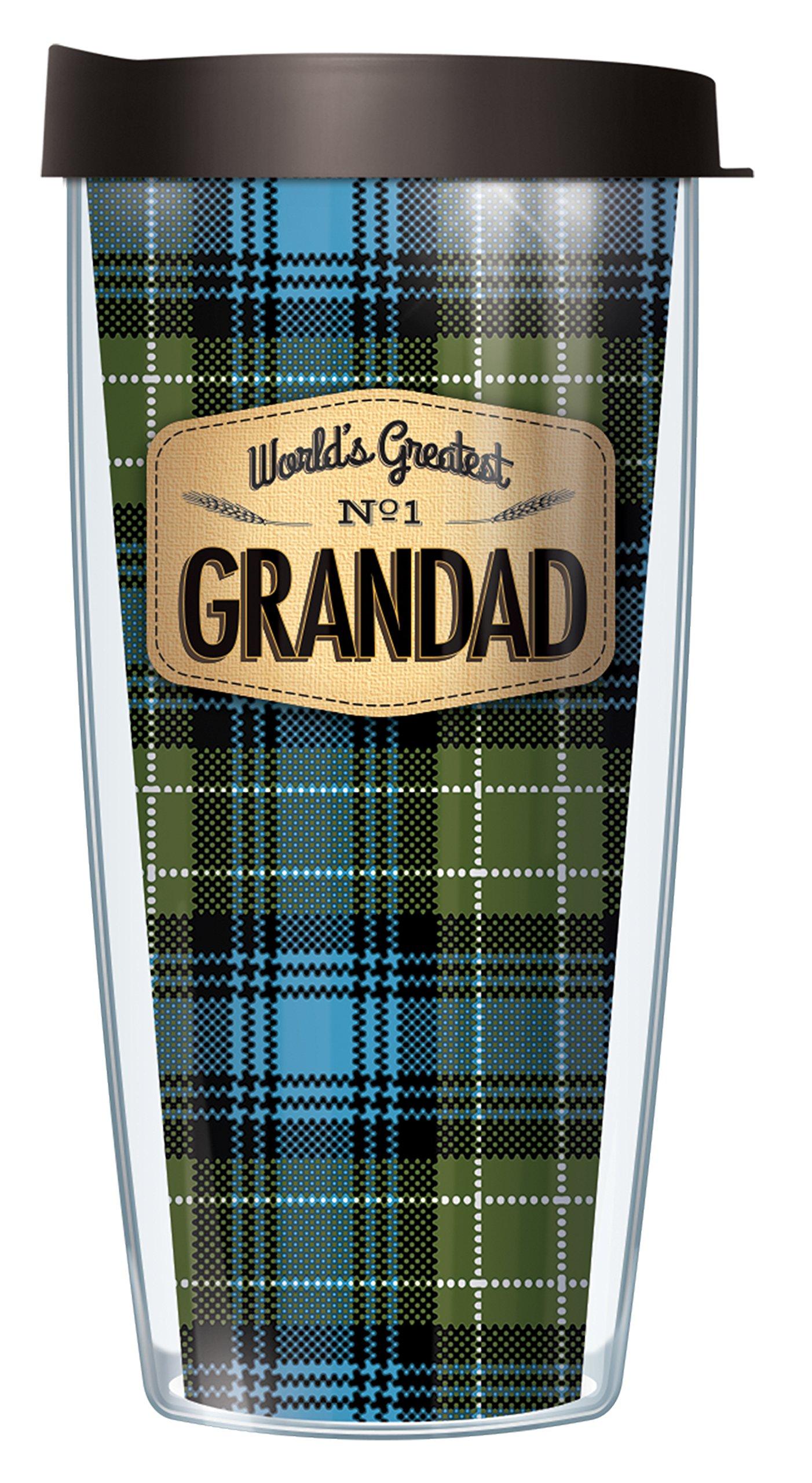 World's Greatest Grandad Blue Flannel Design 16 Oz Traveler Tumbler Mug with Lid