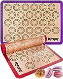 Macaron Silicone Baking Mats - Two Half Non Stick Sheet Mats - Large BPA Free Professional Grade Liner Sheets - Perfect…