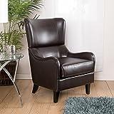 Ellery Brown Leather Wingback Club Armchair