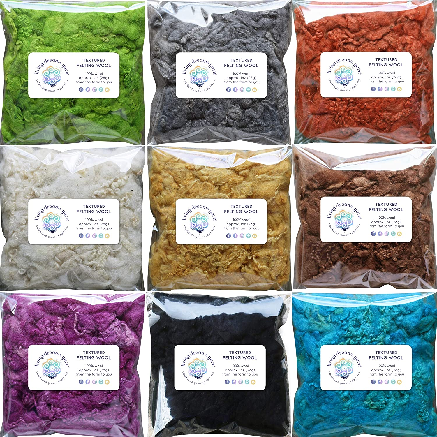 Textured Felting Wool. Corriedale Fiber Includes Curly Locks for Needle Felting, Spinning, Doll Hair and Waldorf Crafts - 9 Color Variety Pack Living Dreams Yarn GBFibWoolLocks9
