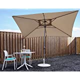 Parasol Garden Umbrella Sun Shading   Sand / Beige   200 x 300 cm / 2 x3m   Rectangular   SORARA - PORTO   Polyester 180 g/m² (UV 50+)   Crank, Tilt Mechanism (Excl. Base)