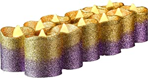 Gold Flameless Votive Candles,Gold & Purple Glitter Battery Operated LED Tea Lights Candle for Wedding Centerpieces ,Table,Party,Birthday,Anniversary,Outdoor,Christmas Decorations,Pack of 12