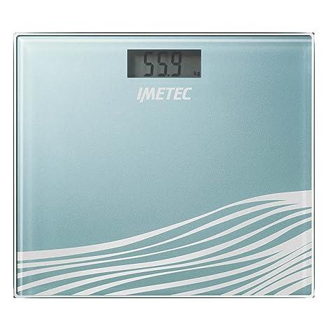 IMETEC BS5 500 - Báscula de baño cuadrada, vidrio templado, color azul
