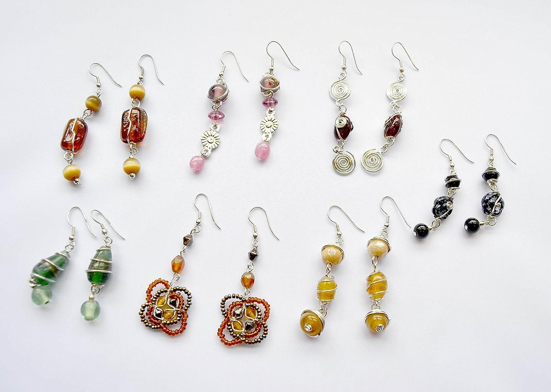 Pack de 7 pares de pendientes de bisutería con piedras de colores ...
