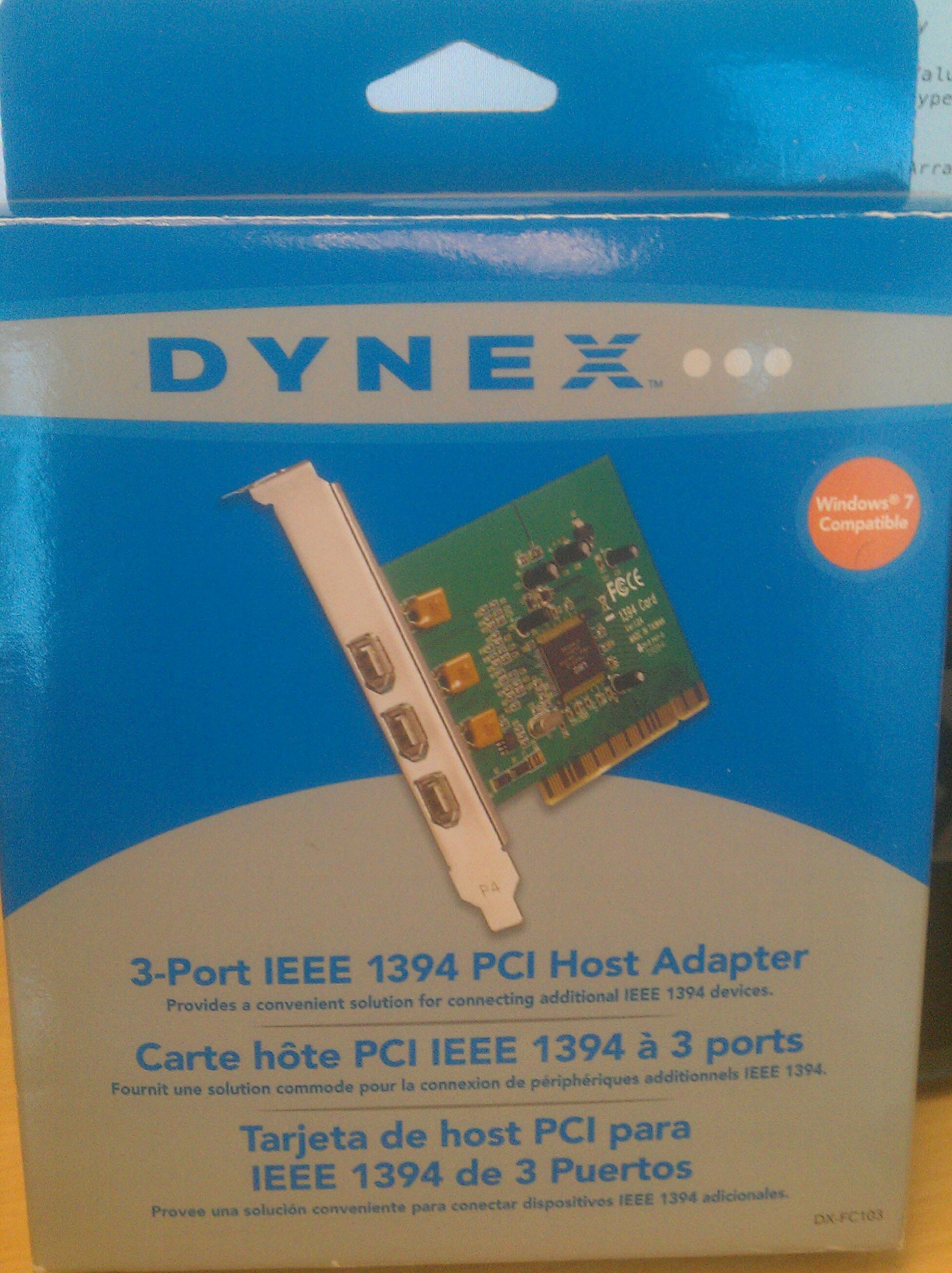 Dynex 3-Port FireWire/IEEE 1394 PCI Card